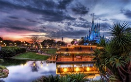 Disneyland, lake, castle, lights, clouds, dusk
