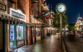 Disneyland, rua, relógio, luzes, loja, noite