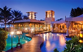 Dubai, resort, piscina, luces, noche