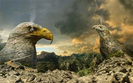 Preview wallpaper Eagle, rocks, smoke, creative picture