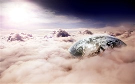 Preview wallpaper Earth, thick clouds, sun, creative picture