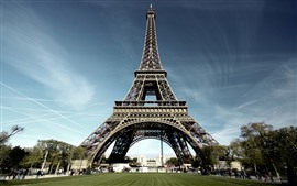 Preview wallpaper Eiffel Tower, Paris, meadow, trees, people