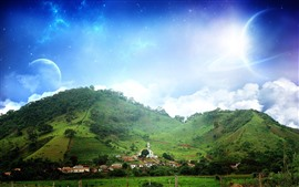 Preview wallpaper Fantasy world, hills, houses, sky, planets, clouds, stars