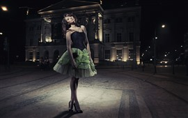 Preview wallpaper Fashion girl, green skirt, night, city