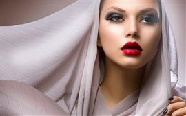 Модная девушка, красная губа, вуаль