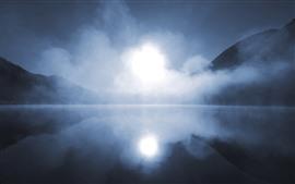 Aperçu fond d'écran Brouillard, montagnes, lac, matin, brumeux