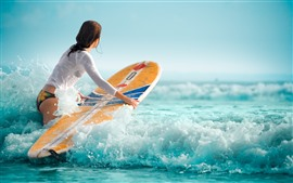 Preview wallpaper Girl, surfer, sea waves, foam