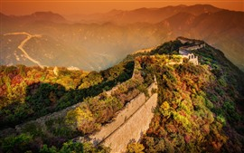 Preview wallpaper Great Wall, trees, mountains, sunshine
