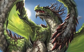 Preview wallpaper Green dragon, art picture