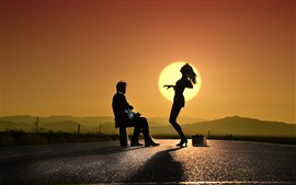 Preview wallpaper Guy and dancing girl, sunset, silhouette