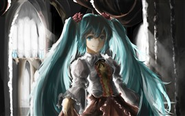 Hatsune Miku, blue hair anime girl, art painting