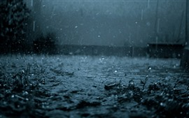 Preview wallpaper Heavy rain, water drops, dark