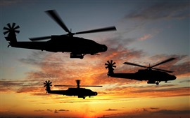 Preview wallpaper Helicopter, silhouette, sky, sunset