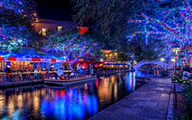 Preview wallpaper Holiday, beautiful lights, trees, river, boat