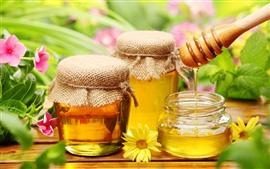 Honey, jar, flowers, sweet