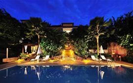 Hotel, piscina, luzes, palmeiras, noite
