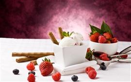 Ice cream, strawberry, blueberry, food