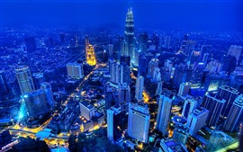 Preview wallpaper Kuala Lumpur, Malaysia, night, skyscrapers, lights, city