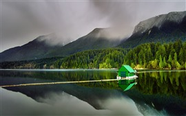 Preview wallpaper Lake, mountains, green hut, fog, trees