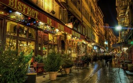 Preview wallpaper Lyon, night, street, shop, lights, France