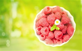 Preview wallpaper Many red raspberries, bowl, white flower