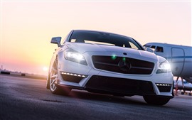 Preview wallpaper Mercedes-Benz white car front view, headlight