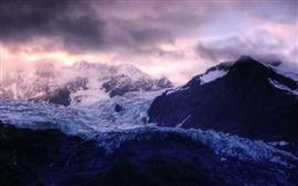 Montagnes, glace, glaciers, nuages