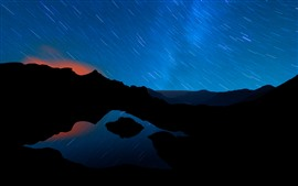 Preview wallpaper Mountains, light circle, night, beautiful