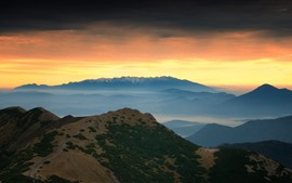 Mountains, sunset, sky, fog, nature landscape