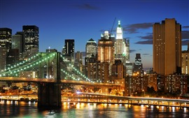 New York, night, lights, bridge, river, USA