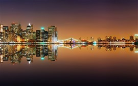 Preview wallpaper New York, river, bridge, lights, night, water reflection, USA