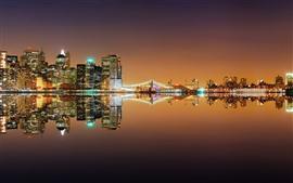 Нью-Йорк, река, мост, огни, ночь, отражение воды, США