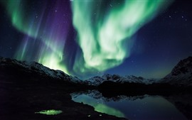 Northern light, mountains, snow, lake, stars, night