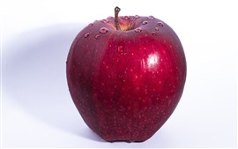 Preview wallpaper One red apple, water droplets, white background