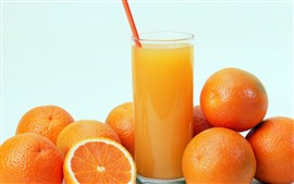 Preview wallpaper Oranges, drinks, glass cup