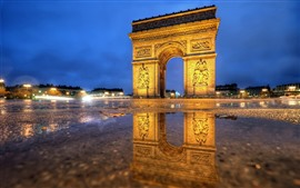 Paris, Arc de Triomphe, night, lights