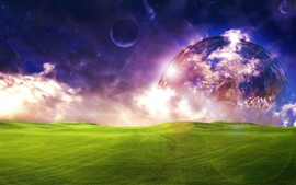 Preview wallpaper Planets, green meadow, dream world