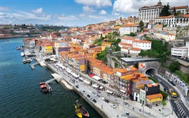 Portugal, city, river, boats, houses