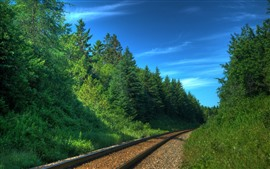 Railroad, green trees, blue sky