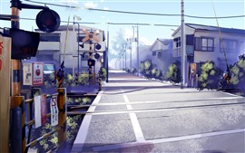 Preview wallpaper Railway crossings, road, houses, anime