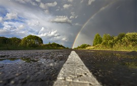 Rainbow, road, trees, clouds, after rain