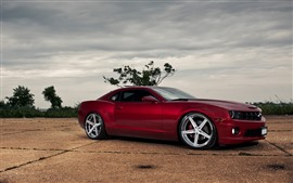 Preview wallpaper Red Chevrolet car side view, clouds, dusk