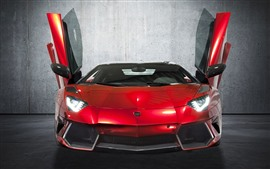 Preview wallpaper Red Lamborghini supercar front view, doors opened