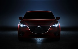 Preview wallpaper Red Mazda car front view, black background