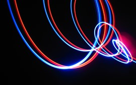 Preview wallpaper Red and blue neon lights, curves, creative picture