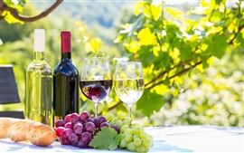 Preview wallpaper Red and green grapes, wine, bottle, cups, sunshine