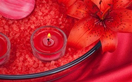 Red candle, flame, red lily flower, soap