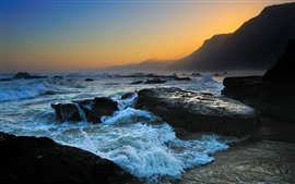 Sea, rocks, wave, foam, mountains, dusk