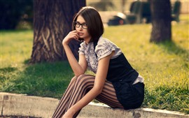 Preview wallpaper Short hair girl, sit, grass