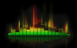 Preview wallpaper Sound waves lights, colorful, black background